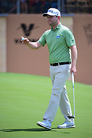 Brandon Grace (RSA) waves after sinking his par putt on 18  during round 1 of the Valero Texas Open, AT&amp;T Oaks Course, TPC San Antonio, San Antonio, Texas, USA. 4/20/2017.<br /> Picture: Golffile | Ken Murray<br /> <br /> <br /> All photo usage must carry mandatory copyright credit (&copy; Golffile | Ken Murray)