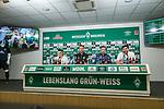 21.02.2019, Weserstadion, Bremen, GER, 1.FBL, PK SV Werder Bremen<br /> <br /> im Bild<br /> Übersicht, Maximilian Eggestein (Werder Bremen #35), Florian Kohfeldt (Trainer SV Werder Bremen), Frank Baumann (Geschäftsführer Fußball Werder Bremen), Michael Rudolph (Direktor Kommunikation Werder Bremen), <br /> bei PK / Pressekonferenz vor dem Heimspiel gegen VfB Stuttgart, <br /> <br /> Foto © nordphoto / Ewert