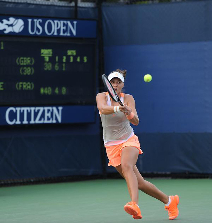 Laura Robson (GBR) in action during her victory over Caroline Garcia (FRA) in their Women's Singles - Round 2 match today - Laura Robson (GBR) [30] def. Caroline Garcia (FRA) 6-4 7-6(5)<br /> <br /> Photo by Gillian Elliott / CameraSport<br /> <br /> Tennis - US Open - Day 3 Wednesday 28th August 2013 - USTA Billie Jean King National Tennis Center<br /> New York City, New York, United States<br /> <br /> &copy; CameraSport - 43 Linden Ave. Countesthorpe. Leicester. England. LE8 5PG - Tel: +44 (0) 116 277 4147 - admin@camerasport.com - www.camerasport.com