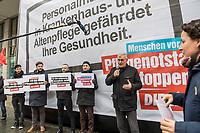 """Protestkundgebung der Linkspartei vor dem Bundesministerium fuer Gesundheit in Berlin unter dem Motto """"Menschen vor Profite: Pflegenotstand stoppen!""""  am Freitag den 6. Maerz 2020.<br /> Mit einem Großtransparent """"Personalmangel in Krankenhaus und Altenpflege gefaehrdet Ihre Gesundheit"""" protestierten Mitglieder der Partei vor dem Eingang des Ministeriums gegen die """"verheerende Situation in der Pflege"""".<br /> Der Parteivorsitzende Bernd Riexinger (im Bild) machte auf die Missstaende gerade waehrend der aktuellen Conora-Krise aufmerksam und forderte 100 000 Pflegekraefte in Krankenhaeusern und 120 000 Pflegekraefte mehr in der Altenpflege einzustellen und 500,- Euro im Monat mehr Grundgehalt in der Pflege.<br /> 6.3.2020, Berlin<br /> Copyright: Christian-Ditsch.de<br /> [NUR FUER REDAKTIONELLE ZWECKE! Werbung nur auf Anfrage beim Fotografen. Inhaltsveraendernde Manipulation des Fotos nur nach ausdruecklicher Genehmigung des Fotografen. Vereinbarungen ueber Abtretung von Persoenlichkeitsrechten/Model Release der abgebildeten Person/Personen liegen nicht vor. NO MODEL RELEASE! Don't publish without copyright Christian-Ditsch.de, Veroeffentlichung nur mit Fotografennennung, sowie gegen Honorar, MwSt. und Beleg. Konto: I N G - D i B a, IBAN DE58500105175400192269, BIC INGDDEFFXXX, Kontakt: post@christian-ditsch.de<br /> Bei der Bearbeitung der Dateiinformationen darf die Urheberkennzeichnung in den EXIF- und  IPTC-Daten nicht entfernt werden, diese sind in digitalen Medien nach §95c UrhG rechtlich geschuetzt. Der Urhebervermerk wird gemaess §13 UrhG verlangt.]"""