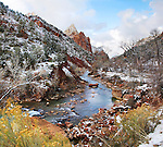 Winter Snow On The Banks Of The Virgin River, Zion National Park, Utah, USA