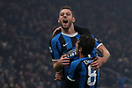 Stefan de Vrij of Inter celebrates with team mate Antonio Candreva after scoring to give the side a 3-2 lead during the Serie A match at Giuseppe Meazza, Milan. Picture date: 9th February 2020. Picture credit should read: Jonathan Moscrop/Sportimage