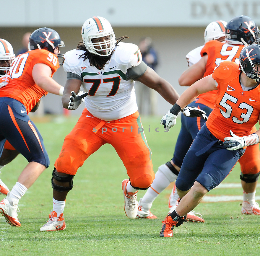 Miami Hurricanes Seantrel Henderson (77) in action during a game against Virginia on November 10, 2012 at Scott Stadium in Charlottesville, VA. Virginia beat Miami 41-40.
