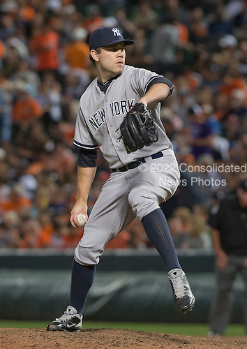 New York Yankees pitcher David Phelps (41) works in the seventh inning against the Baltimore Orioles at Oriole Park at Camden Yards in Baltimore, MD on Friday, September 12, 2014.  The Orioles won the game 5 - 0.<br /> Credit: Ron Sachs / CNP<br /> (RESTRICTION: NO New York or New Jersey Newspapers or newspapers within a 75 mile radius of New York City)
