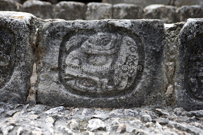 Detail of a glyph on the riser of the steps of the Stairway, Five-Floor Building, Puuc architectural style, Late Classic Period, 600 - 900 AD, Edzna, Campeche, Mexico. Picture by Manuel Cohen