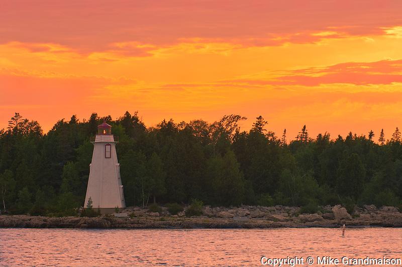 Big Tub Lighthouse in Lake Huron. Georgian Bay on Bruce Peninsula<br /> Tobermory<br /> Ontario<br /> Canada