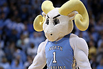 CHAPEL HILL, NC - DECEMBER 30: UNC mascot Rameses. The University of North Carolina Tar Heels hosted the Wake Forest University Demon Deacons on December 30, 2017 at Dean E. Smith Center in Chapel Hill, NC in a Division I men's college basketball game. UNC won the game 73-69.