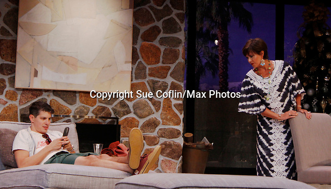 """ATWT Colleen Zenk and Davy Raphaely star in """"Other Desert Cities"""" at the tech rehearsal (in costume) on October 14, 2015 at Whippoorwill Halll Theatre, North Castle Library, Kent Place, Armonk, New York.  (Photo by Sue Coflin/Max Photos)"""