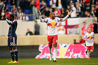 Thierry Henry (14) of the New York Red Bulls celebrates scoring during the first half against the Chicago Fire during a Major League Soccer (MLS) match at Red Bull Arena in Harrison, NJ, on October 27, 2013.