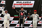 KUALA LUMPUR, MALAYSIA - May 29:  Podium (L-R) Jean CHARLES of Singapore (#25), Mark DARWIN of Malaysia (#19) and Kenny LEE of Malaysia (#38) Malaysia Championship Series Round 1 at Sepang International Circuit on May 29, 2016 in Kuala Lumpur, Malaysia. Photo by Peter Lim/PhotoDesk.com.my
