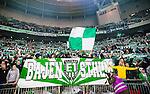 Stockholm 2014-04-14 Fotboll Superettan Hammarby IF - Degerfors IF :  <br /> Hammarbys supportrar med halsdukar och en banderoll i Tele2 Arena under matchen <br /> (Foto: Kenta J&ouml;nsson) Nyckelord:  HIF Bajen Degerfors  supporter fans publik supporters