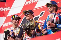 MARC MARQUEZ - SPANISH - REPSOL HONDA TEAM - HONDA<br /> WORLD CHAMPION 2018<br /> CAL CRUTCHLOW - BRITISH - LCR HONDA CASTROL - HONDA<br /> ALEX RINS - SPANISH - TEAM SUZUKI ECSTAR - SUZUKI<br /> Motegi 21-10-2018 <br /> Moto Gp Giappone<br /> Foto Vincent Guignet / Panoramic / Insidefoto