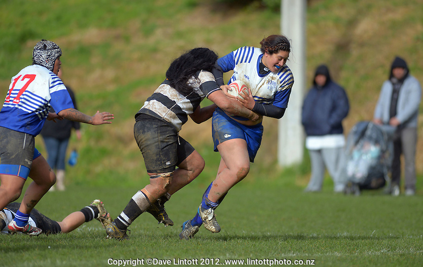 Action from the Victoria Tavern Wellington women's club rugby match between Norths and Oriental-Rongotai at Porirua Park, Porirua, Wellington, New Zealand on Saturday, 30 June 2012. Photo: Dave Lintott / lintottphoto.co.nz