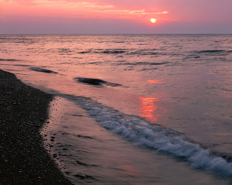 Sunset light on the surf of Lake Superior on 12-Mile Beach; Pictured Rocks National Lakeshore, MI