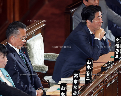 November 10, 2016, Tokyo, Japan - Japanese Agriculture Minister Yuji Yamamoto (L) and Prime Minister Shinzo Abe (R) wait voting for Yamamoto's no-confidence motion at the Lower House plenary session at the National Diet in Tokyo on Thursday, November 10, 2016. The no-confidence motion brought by opposition parties for Yamamoto's verbal gaffes was voted down by ruling parties.  (Photo by Yoshio Tsunoda/AFLO) LWX -ytd-