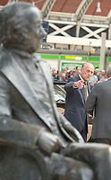 13 June 2017 - Prince Philip Duke of Edinburgh points to a statue of Isambard Kingdom Brunel at Paddington Station in London, marking the 175th anniversary of the first train journey by a British monarch. The Queen and The Duke of Edinburgh traveling from Slough to London Paddington on a Great Western Railway train, recreating the historic journey made by Queen Victoria on 13th June 1842. Photo Credit: ALPR/AdMedia