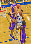 22 November 2015: Yeshiva University Maccabee Guard Shaje Weiss, a Senior from Edison, NJ, takes a second half jump shot against the Hunter College Hawks at the Max Stern Athletic Center  in New York, NY. The Maccabees defeated the Hawks 81-71 in non-conference play, for their second win of the season. Mandatory Credit: Ed Wolfstein Photo *** RAW (NEF) Image File Available ***