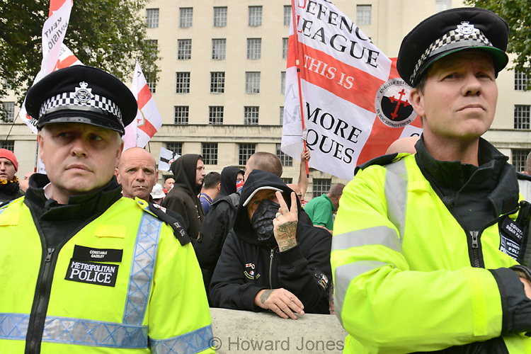 English Defence League anti muslim group held a demonstration in the wake of the Rotherham sex abuse scandal.<br /> A counter demonstration was also held by the anti racist group, United Against Fascism.n