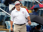 TORRINGTON CT. 27 July 2017-072717SV05-Rich Guisti, site manager, checks on the California team during a game against the Wolcott Storm at the Mickey Mantle World Series in Torrington Thursday.<br /> Steven Valenti Republican-American