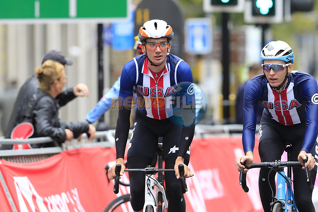 Team USA takes advantage of free practice on the Harrogate Circuit before the Men Elite Individual Time Trial of the UCI World Championships 2019 running 54km from Northallerton to Harrogate, England. 25th September 2019.<br /> Picture: Eoin Clarke | Cyclefile<br /> <br /> All photos usage must carry mandatory copyright credit (© Cyclefile | Eoin Clarke)