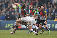 20130309 Copyright onEdition 2013©.Free for editorial use image, please credit: onEdition..Luke Wallace of Harlequins is tackled during the LV= Cup semi final match between Harlequins and Bath Rugby at The Twickenham Stoop on Saturday 9th March 2013 (Photo by Rob Munro)..For press contacts contact: Sam Feasey at brandRapport on M: +44 (0)7717 757114 E: SFeasey@brand-rapport.com..If you require a higher resolution image or you have any other onEdition photographic enquiries, please contact onEdition on 0845 900 2 900 or email info@onEdition.com.This image is copyright onEdition 2013©..This image has been supplied by onEdition and must be credited onEdition. The author is asserting his full Moral rights in relation to the publication of this image. Rights for onward transmission of any image or file is not granted or implied. Changing or deleting Copyright information is illegal as specified in the Copyright, Design and Patents Act 1988. If you are in any way unsure of your right to publish this image please contact onEdition on 0845 900 2 900 or email info@onEdition.com