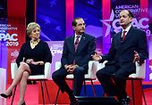 Administrator of the Small Business Administration Linda E. McMahon, left, and US Secretary of Health and Human Services (HHS) Alex Azar, center, look on as US Secretary of Labor Alex Acosta speaks at the Conservative Political Action Conference (CPAC) at the Gaylord National Resort and Convention Center in National Harbor, Maryland on Thursday, February 28, 2019.<br /> Credit: Ron Sachs / CNP