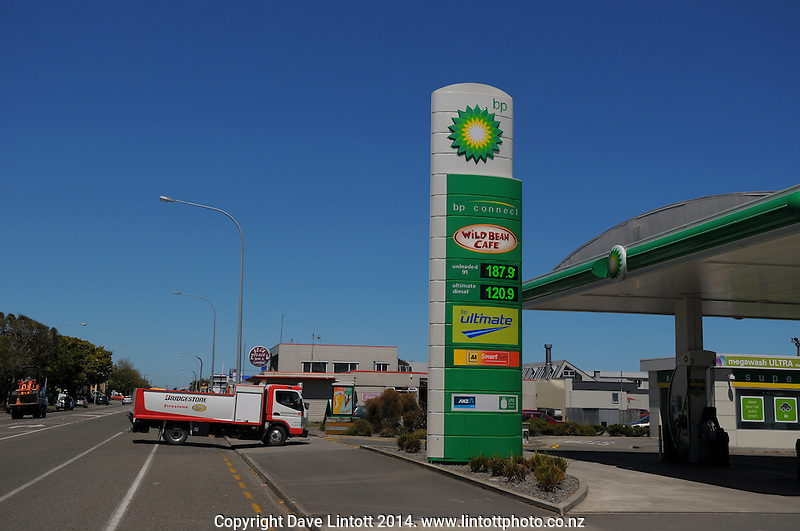 Petrol price sign at BP Service Station, Levin, New Zealand on Tuesday, 16 December 2014. Photo: Dave Lintott / lintottphoto.co.nz