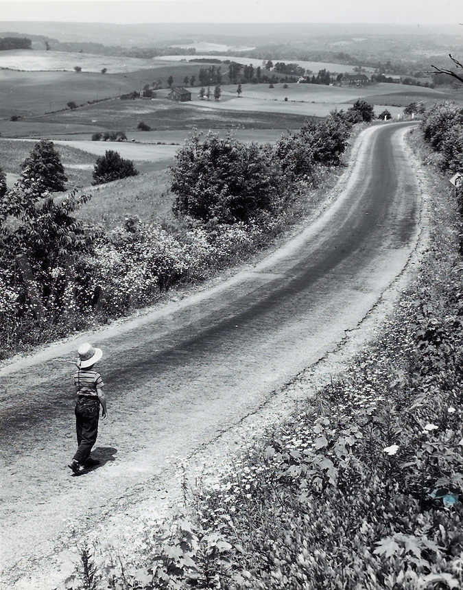 Boy walking on a country road.<br />