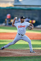 Billings Mustangs starting pitcher Antonio Santillan (49) delivers a pitch to the plate against the Orem Owlz in Pioneer League action at Home of the Owlz on July 25, 2016 in Orem, Utah. Orem defeated Billings 6-5. (Stephen Smith/Four Seam Images)