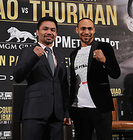 """BEVERLY HILLS - MAY 22: Eight-division world champion, Manny """"Pac Man"""" Pacquiao and unbeaten WBA Welterweight World Champion Keith """"One Time"""" Thurman attend a press conference on May 22 in Beverly Hills, California for their Premier Boxing Champions on FOX Sports Pay-Per-View event on Saturday July 20 in Las Vegas. (Photo by Frank Micelotta/Fox Sports/PictureGroup)"""