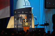 September 14, 2011 (Washington, DC)   U.S. President Barack Obama addresses attendees of the 34th Annual Congressional Hispanic Caucus Awards Gala.  (Photo by Don Baxter/Media Images International)