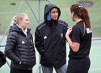 14.07.2014 Laura Langman and Maria Tutaia - The Silver Ferns visit the U17 netball on the North Shore in Auckland. Mandatory Photo Credit ©Michael Bradley.