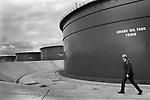 Security guard at Sullom Voe 1979 Shetland Islands. Scotland oil industry site for BP British Petroleum. North Sea oil. 1970s