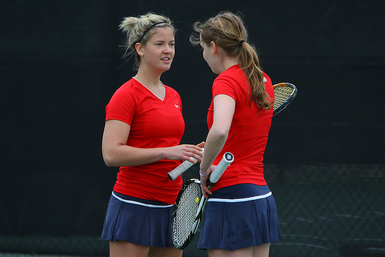 April 21, 2011; San Diego, CA, USA; Gonzaga Bulldogs doubles Clare Dodge and Kristina Zauere during the first round of the WCC Tennis Championships at the Barnes Tennis Center.