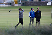 2nd October 2017, The Old Course, St Andrews, Scotland; Alfred Dunhill Links Championship golf practice round; 20 times Champion Jockey, Sir Anthony McCoy, tees off on the second hole on the Old Course, St Andrews during a.practice round before the Alfred Dunhill Links Championship
