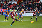 Billy Sharp of Sheffield Utd sees his penalty saved during the English League One match at the Bramall Lane Stadium, Sheffield. Picture date: November 19th, 2016. Pic Simon Bellis/Sportimage
