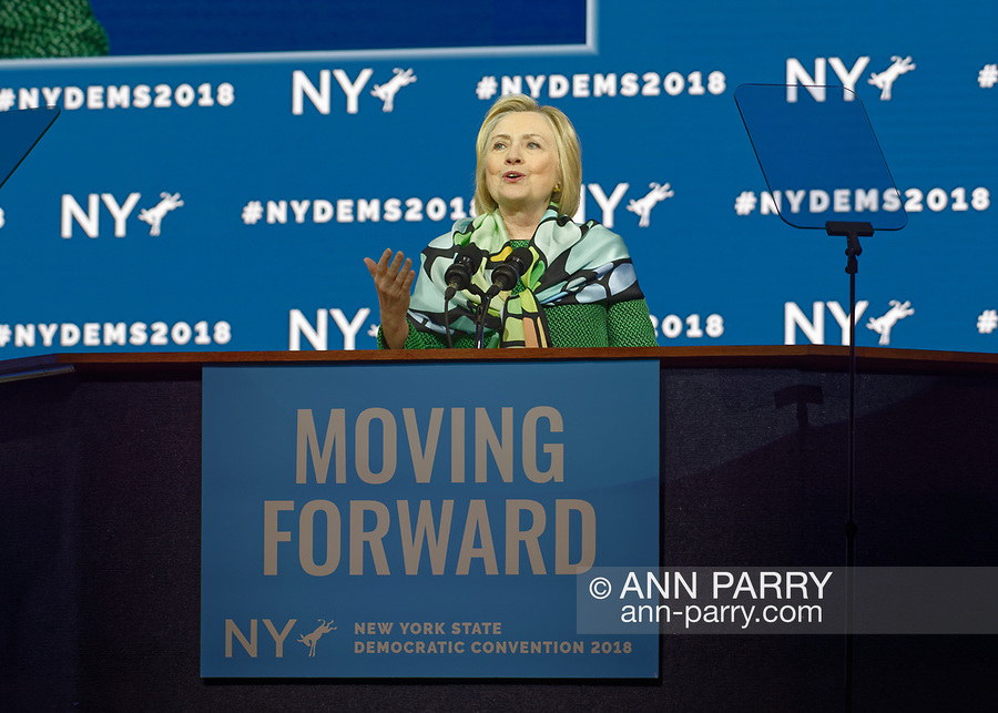 Hempstead, New York, USA. May 23, 2018. HILLARY CLINTON  delivers Keynote Address during Day 1 of New York State Democratic Convention, held at Mack Sports Complex and Exhibition Hall at Hofstra University on Long Island.