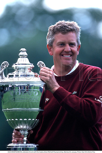 COLIN MONTGOMERIE, celebrates his win with the trophy, Volvo PGA Golf Championships, Wentworth, 000529. Photo: Glyn Kirk/Action Plus...2000.cup.winner.golfer golfers.portrait.celebration.celebrate.celebrating.celebrations.joy