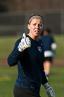 Sky Blue FC goalkeeper Ashley Baker (20) prior to playing the Western New York Flash. Sky Blue FC defeated the Western New York Flash 1-0 during a National Women's Soccer League (NWSL) match at Yurcak Field in Piscataway, NJ, on April 14, 2013.