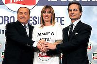 Silvio Berlusconi  a Napoli  Durante il  il suo tour a sostegno dei candidati presidenti alle prossime elezioni regionali<br /> nella foto con Stefano Caldoro e Alessandra Mussolini