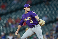 LSU Tigers relief pitcher Nick Storz (21) in action against the Baylor Bears in game five of the 2020 Shriners Hospitals for Children College Classic at Minute Maid Park on February 28, 2020 in Houston, Texas. The Bears defeated the Tigers 6-4. (Brian Westerholt/Four Seam Images)