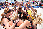 GULF SHORES, AL - MAY 07: The University of Southern California team gets psyched up for the match against Pepperdine University before the Division I Women's Beach Volleyball Championship held at Gulf Place on May 7, 2017 in Gulf Shores, Alabama. The University of Southern California defeated Pepperdine 3-2 to claim the national championship. (Photo by Stephen Nowland/NCAA Photos via Getty Images)