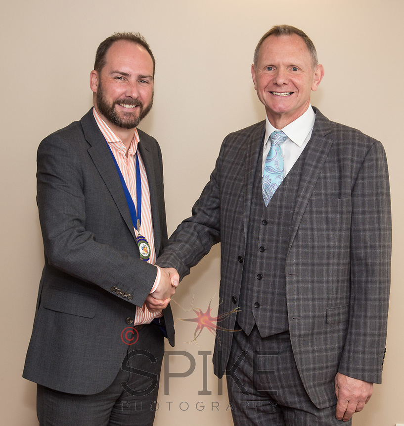 James Simmonds, president of Nottingham City Business Club, with Guest Speaker Nigel Skill of Skills Holidays