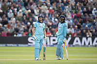 Jos Buttler (England) looks a t the big screen as a decision for LBW against him is reviewed by Bangladesh during England vs Bangladesh, ICC World Cup Cricket at Sophia Gardens Cardiff on 8th June 2019