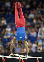 Donnell Whittenburg (USA) in action during the men's Horizontal Bar competition.  FIG World Cup Series of Gymnastics. The O2 Arena, London,  Britain 8th April 2017.