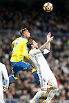 Real Madrid's Sergio Ramos (r) and UD Las Palmas' Kevin-Prince Boateng during La Liga match. March 1,2017. (ALTERPHOTOS/Acero)