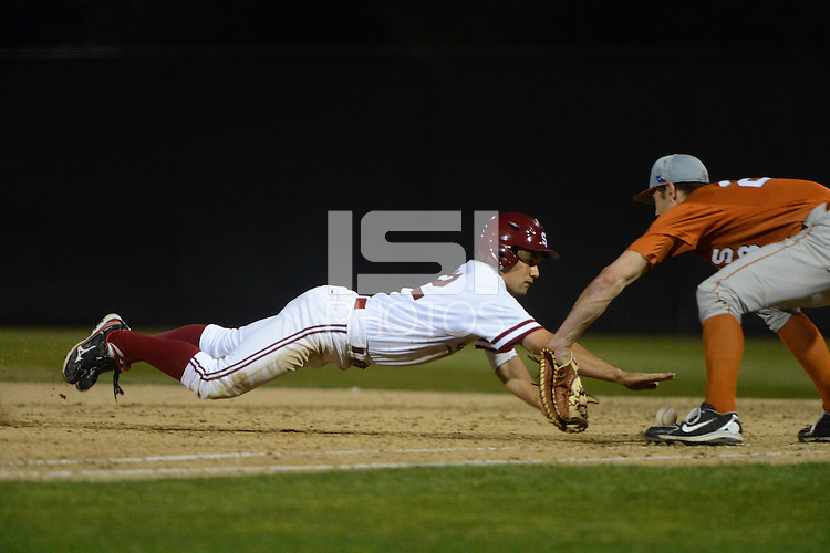 Stanford, CA - Friday, March 1, 2013: Stanford Cardinal center fielder Jonny Locher during the NCAA baseball game against the Texas Longhorns.