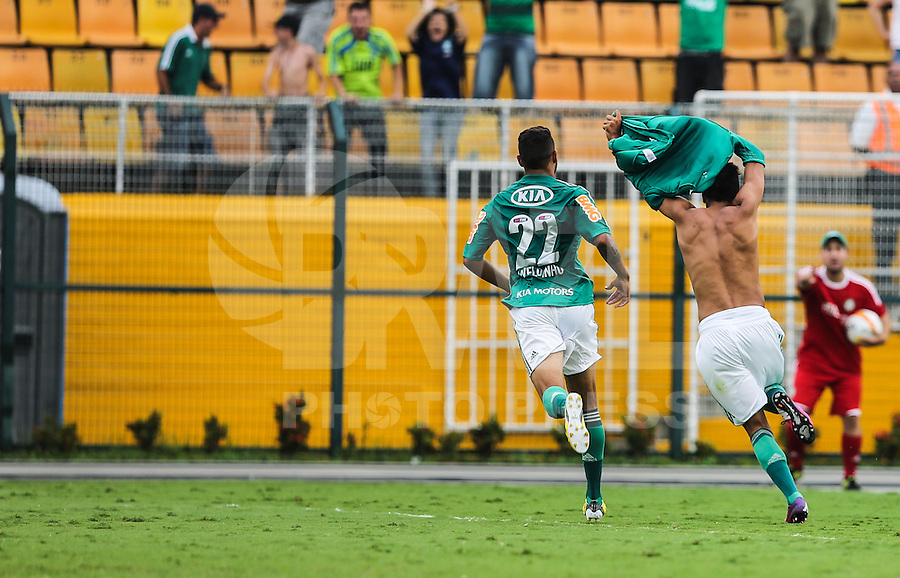 SAO PAULO, SP, 24 FEVEREIRO 2013 - CAMPEONATO PAULISTA - PALMEIRAS X U. BARBARENSE - Leandro jogador do Palmeiras comemora seu gol durante partida contra a Uniao Barbarense jogo valido pelo Campeonato Paulista, no Estadio Paulo Machado de Carvalho, o Pacaembu, neste domingo, 24. (FOTO: WILLIAM VOLCOV / BRAZIL PHOTO PRESS).