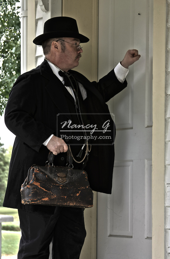 Old time doctor knocking on a front door for a house call
