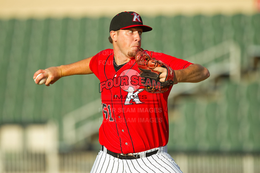 Kannapolis Intimidators starting pitcher Kyle Hansen (51) in action against the Greensboro Grasshoppers at CMC-Northeast Stadium on July 15, 2013 in Kannapolis, North Carolina.  The Intimidators defeated the Grasshoppers 4-0.   (Brian Westerholt/Four Seam Images)